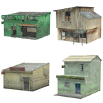 Click to see information about the 'Shanty Town Buildings 2: Set 2 (for Poser)'.