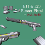 Click to see information about the 'E11 & E20 Blaster Pistols (for DAZ Studio)'.