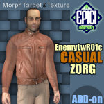 Click to see information about the 'EnemyLWR_01 Zorg Casual Add-On (for Poser)'.