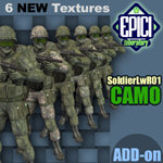 Click to see information about the 'SoldierLWR_01 CAMO Add-On (for Poser)'.