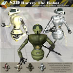 Click to see information about the 'Harvey The Robot Droid (for Poser)'.