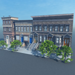 Click to see information about the 'Brownstone Street Scene 1 (for Vue)'.