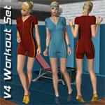 Click to see information about the 'V4 Workout Outfit & Set (for Poser)'.